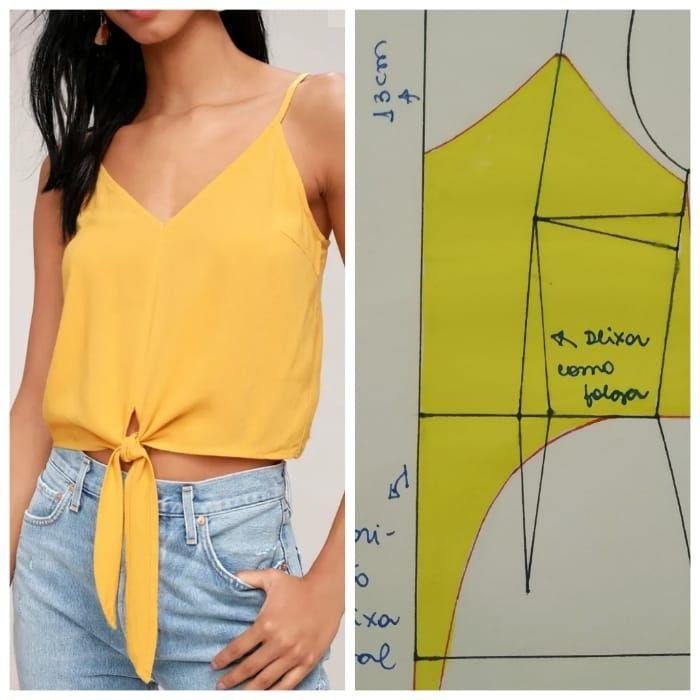 Como hacer una blusa strech con nudo frontal