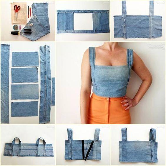 Como hacer tops con jeans viejos, bien explicado